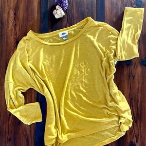 Old Navy Yellow Oversized High Low Long Sleeve Top